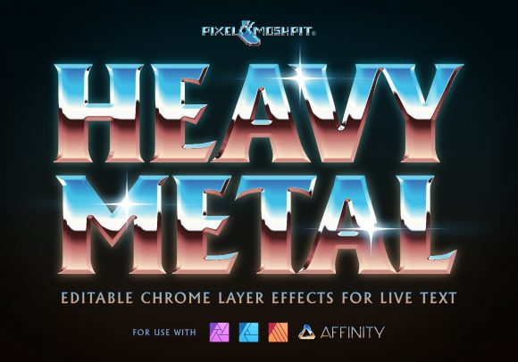 Heavy Metal Chrome Layer effects for Live Text, Affinity Photo Layer Styles Chrome